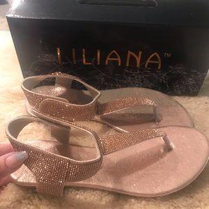 Rose gold sparkle sandals